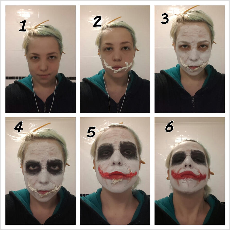 simple joker make up tutorial by chartail on deviantart. Black Bedroom Furniture Sets. Home Design Ideas