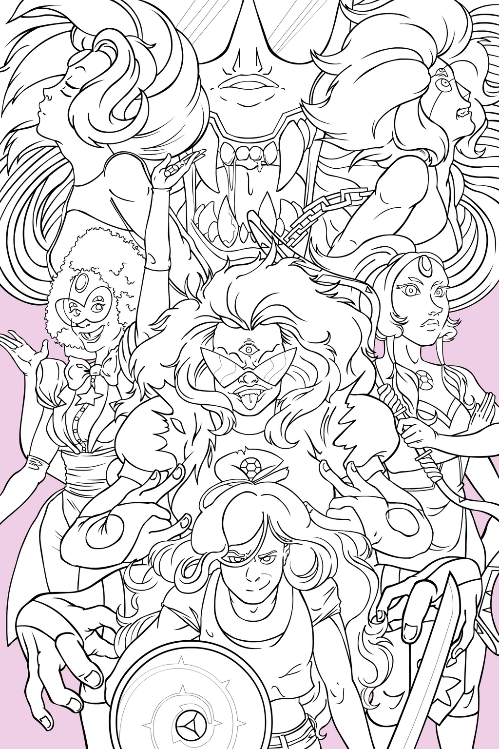 Steven universe gem fusion poster inks by empty brooke for Gem coloring pages