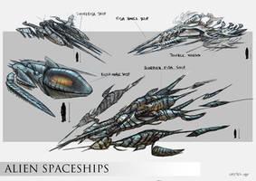 Alien Spaceships concept by Quentinvcastel