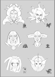 Portraits researches - Redesigns of Pokemons by Quentinvcastel