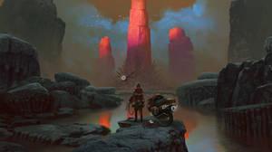 Red pillars