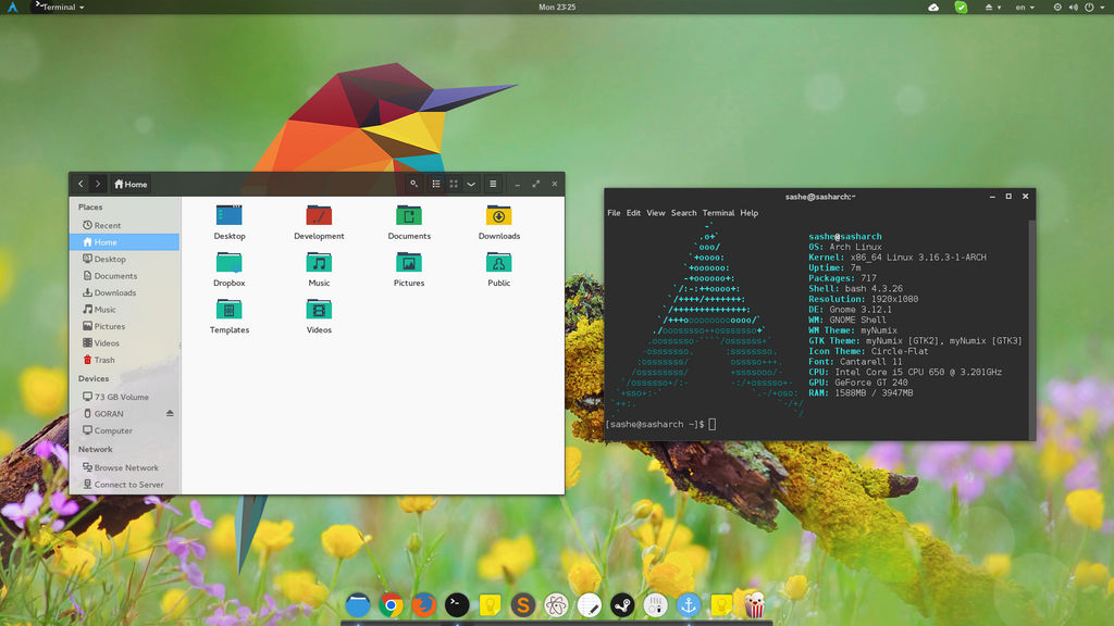 Arch linux - Numix theme w/ transparency by sash239 on