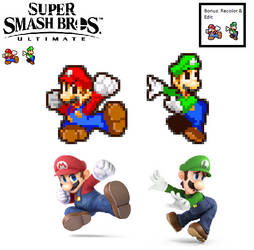 MLSS Stlyed SSBU Mario and Luigi poses resized