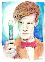 Matt Smith Doctor Who watercolor