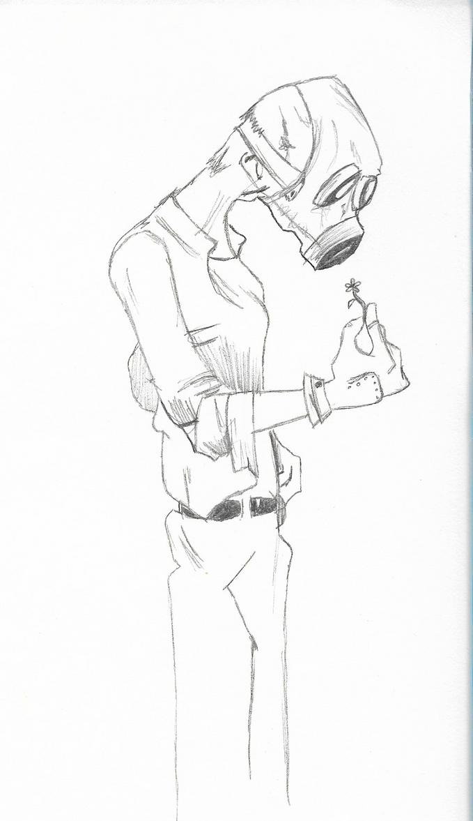 Un homme au masque a gaz / A gas mask man by lebookdecezary