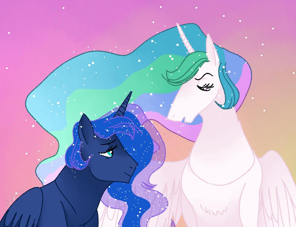 luna and celestia by hateful-minds
