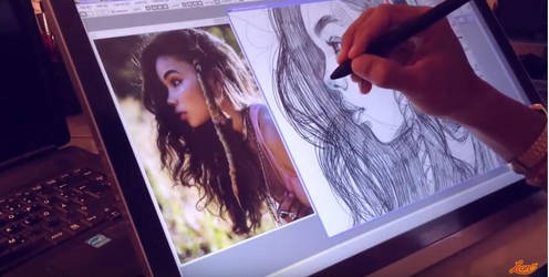 Lean13 is drawing by using Huion GT-220