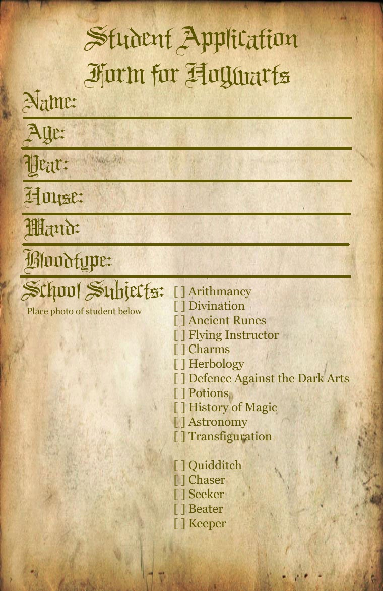 Hogwarts Student Application By Bonnieandclydeproduc On