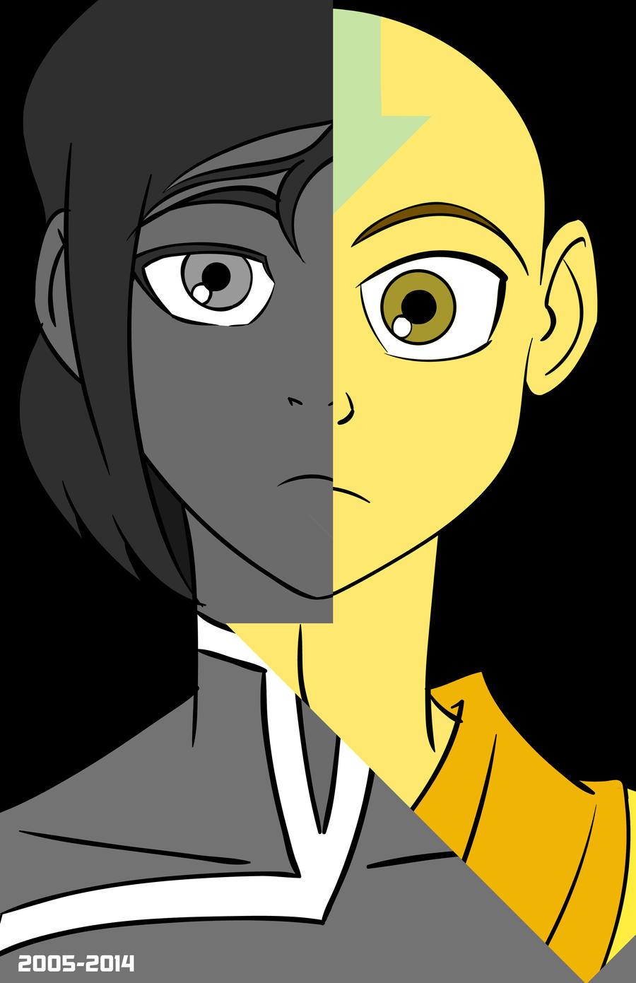 Aang Korra avatar days of future past - aang korrachbgraphics on