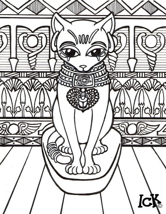 Coloring Book For Adults In Egypt : Bastet by Go Baby Go on DeviantArt