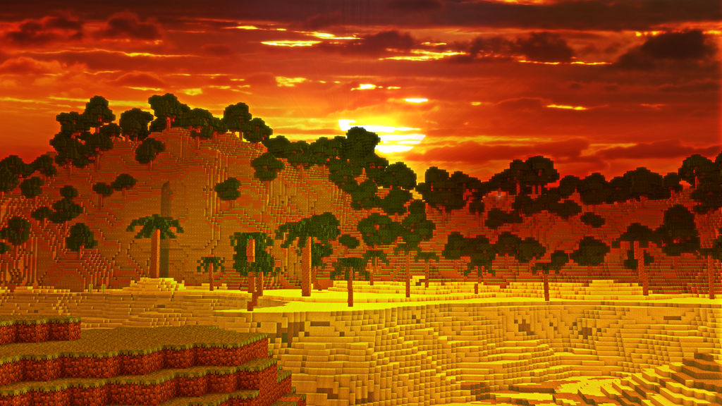 Minecraft Sunset Wallpaper By Fannick On Deviantart