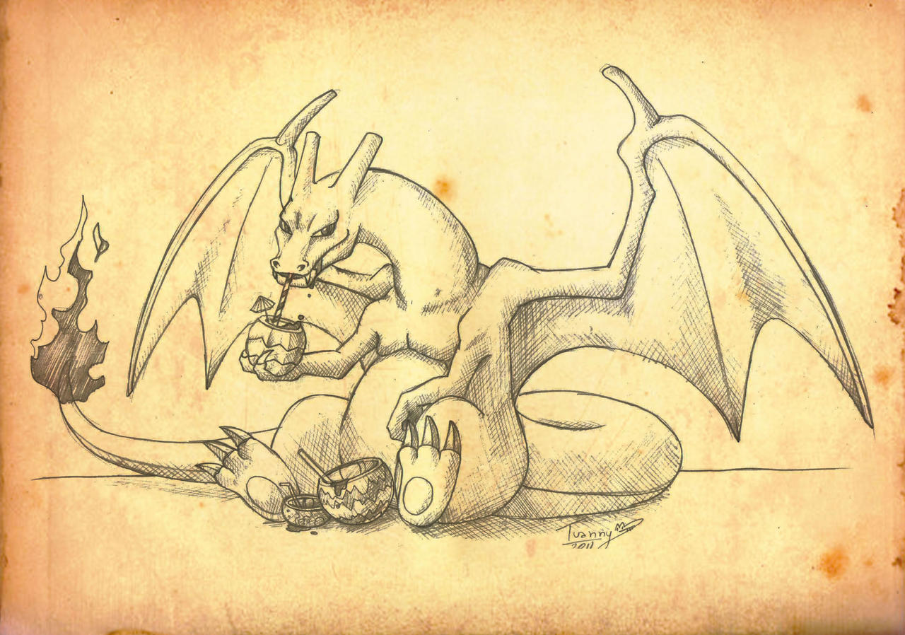 Charizard drinking berry juice by Tsuani-Inushiro