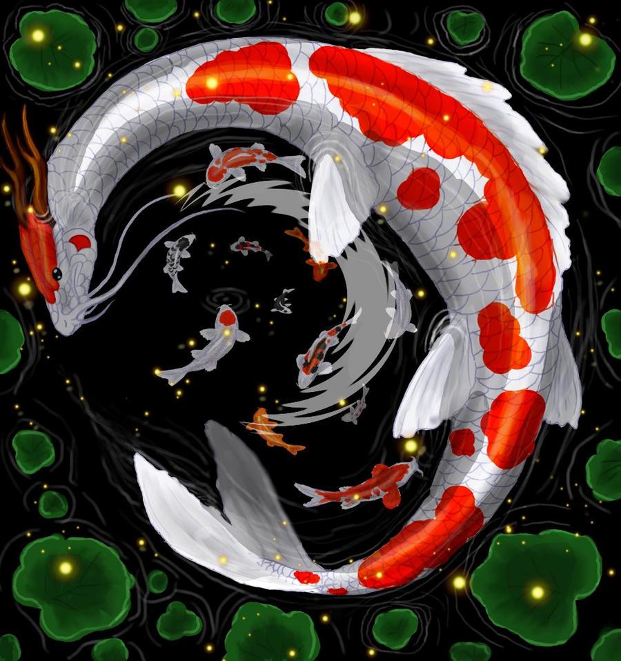 Koi Fish Dragon Art Koi Dragon Fish by