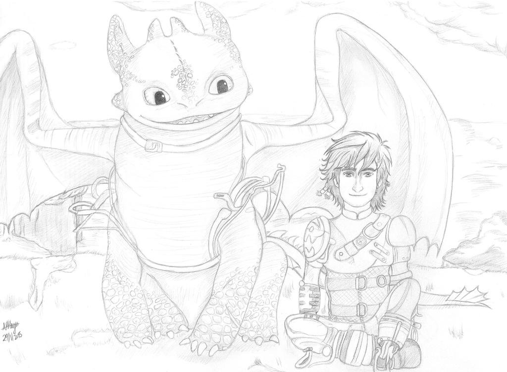 Hiccup and Toothless by Ergonis