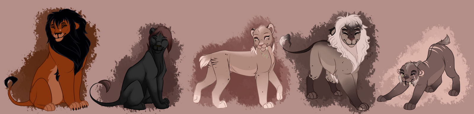 YCH Smiley lions. Commission.