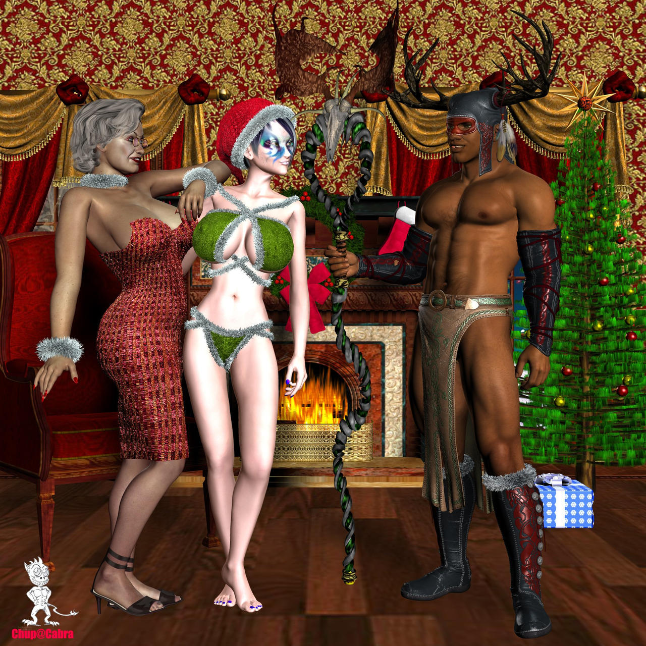 Naked women santas elf fucks photo