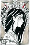 Inktober 25/26: Dark Elves II - Aisala the Alb