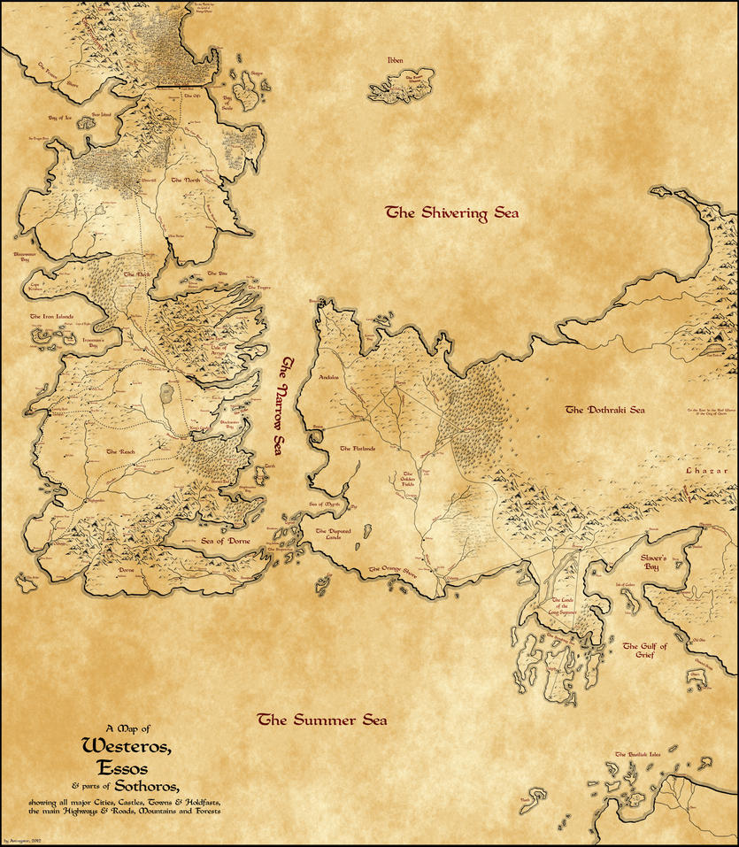 Map of Westeros, Essos and parts of Sothoros by Astrogator87