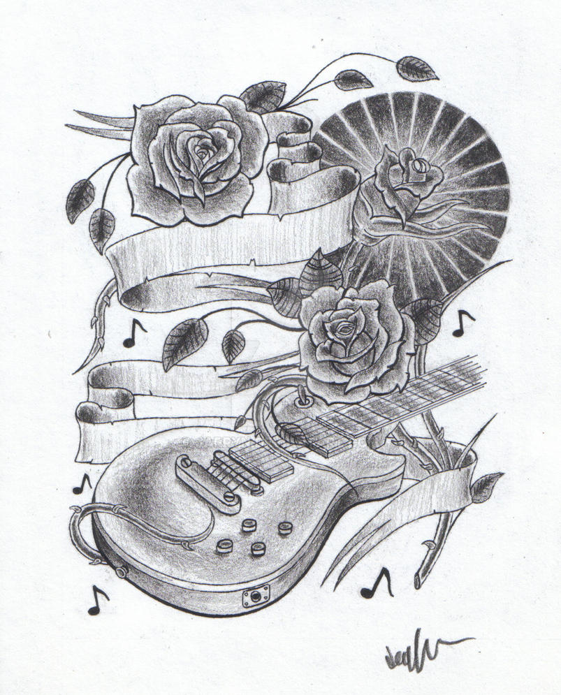 Guitar And Roses Tattoo Design By Jarryn On DeviantArt