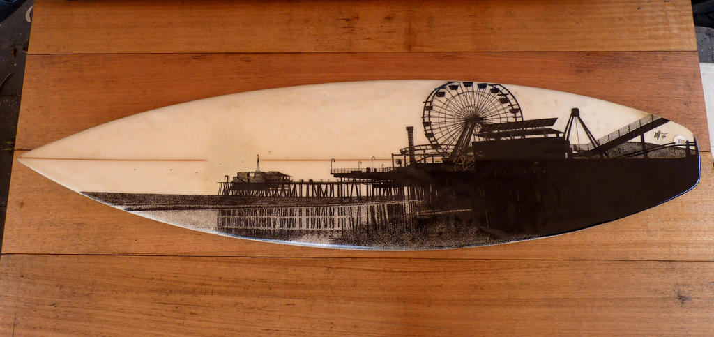 Surfboard artwork of the Santa Monica Pier by Jarryn
