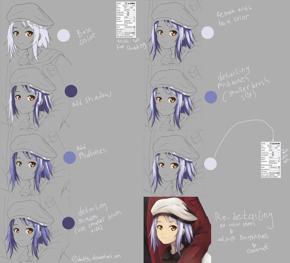 Hair Coloring Tutorial - Paint Tool SAI (By Mouse) by deddyz on ...