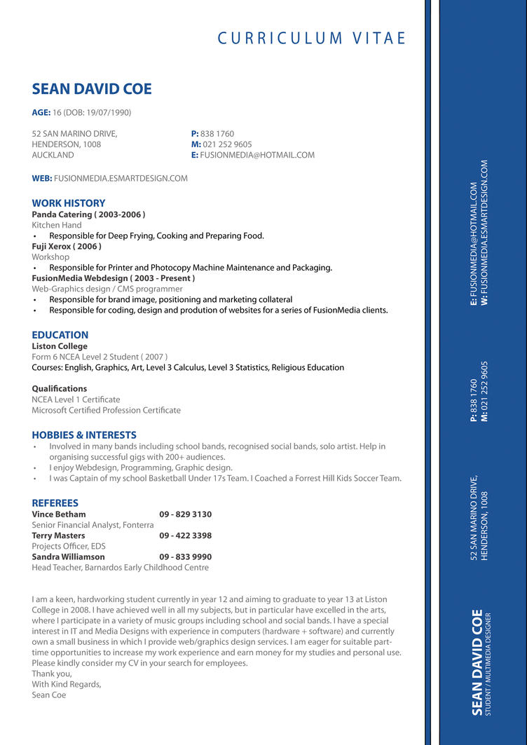 my cv resume by ThatNiqqaSean ...