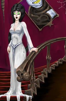 Morticia in White