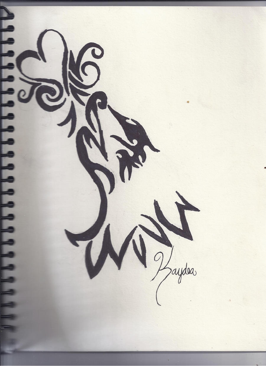 Tribal Wolf Drawing by...
