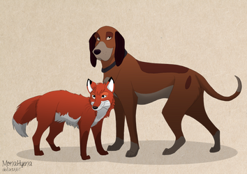 Fox and the Hound by MonaHyena
