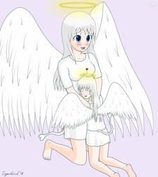 [Gift] Angel Kid hugs Angel by Angel-Tigercloud
