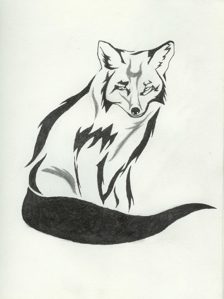 Tribal fox pen and pencil by elemental war on deviantart for Cool fox drawings