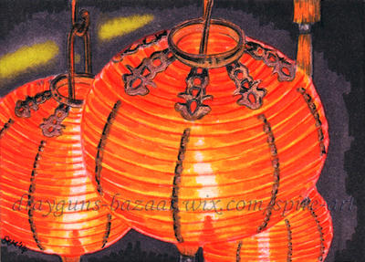 Chinese Lanterns ACEO by De-Vagrant