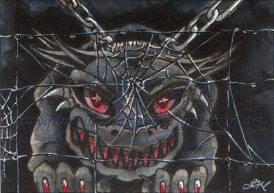 Inktober2017 - 26 - Hell Hound ACEO by De-Vagrant