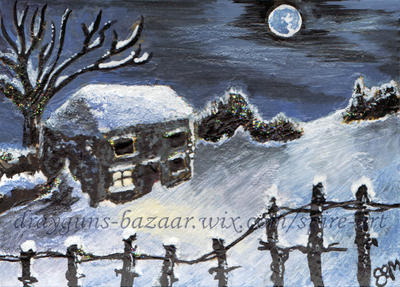 A Winters Night ACEO by De-Vagrant