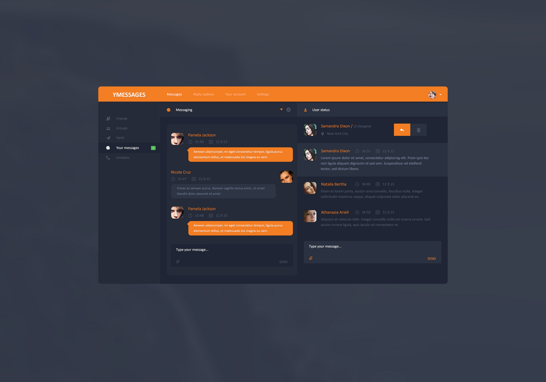 YMESSAGES UI Design by Rarousek