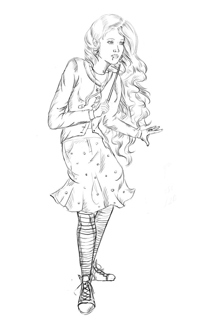 Luna lovegood sketch by staroksi on deviantart for Luna lovegood coloring pages