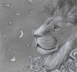 Lion and roses