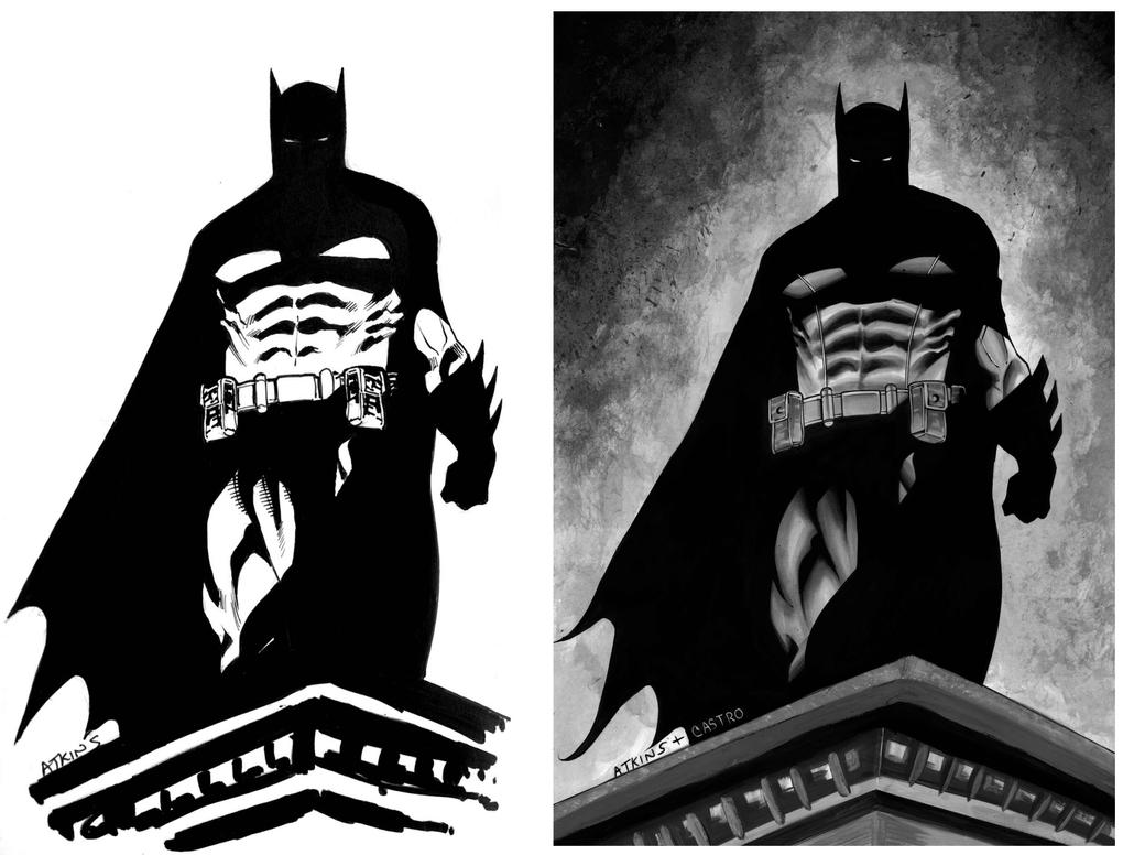 Batman Black And White By Juancastroinker