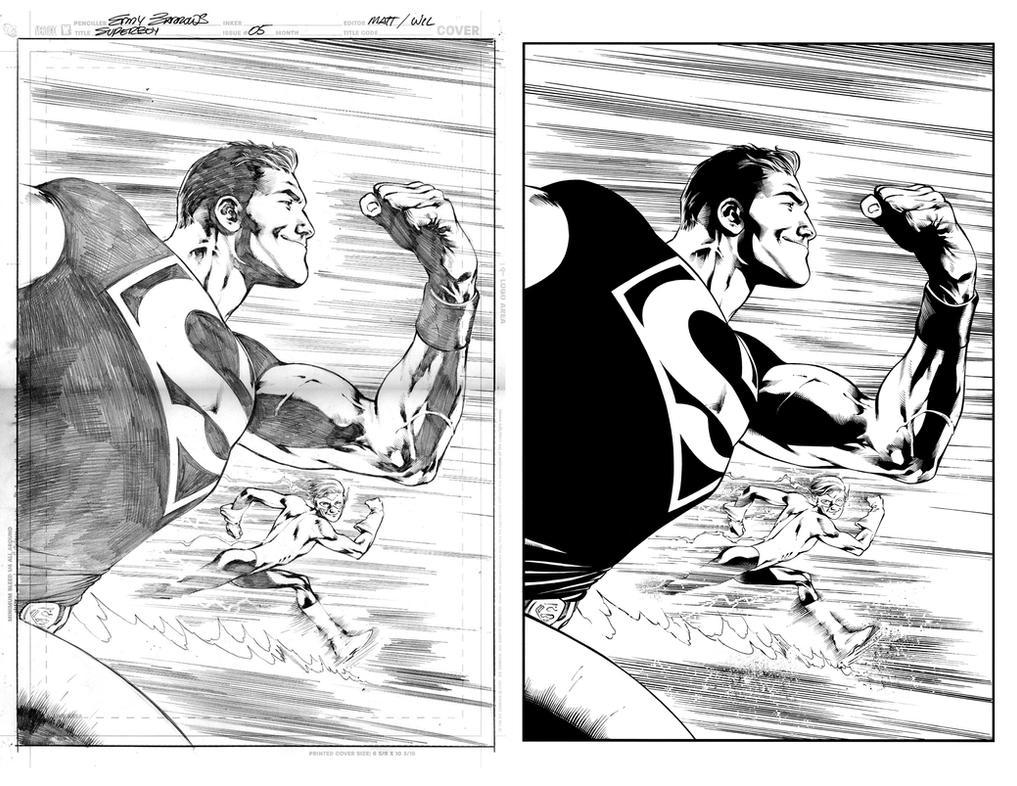 superboy sample inks by juancastroinker