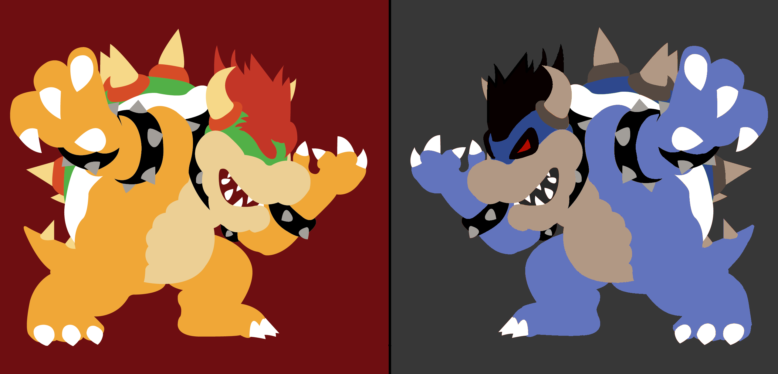 bowser vs dark bowser by dreamybowser on deviantart
