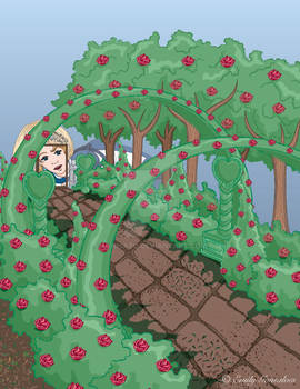 Alice Looking in the Garden
