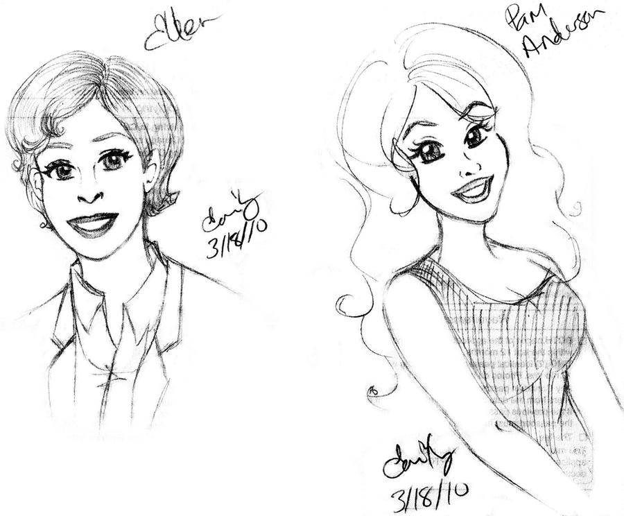 Ellen and Pam Caricatures by Lanisatu