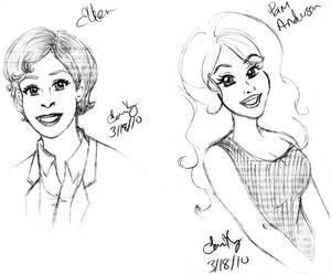 Ellen and Pam Caricatures
