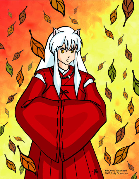 Inuyasha with Leaves by Lanisatu