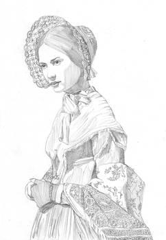 Portrait drawing of Mia Wasikowska in Jane Eyre
