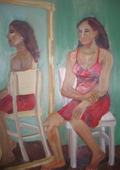 Lady in a red dress sitting next to a mirror