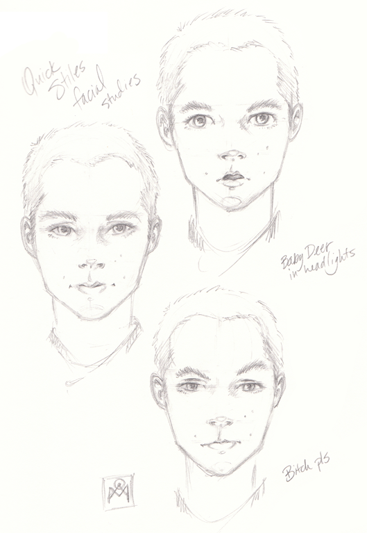 Quick and dirty Stiles facial studies by glitterandalchemy