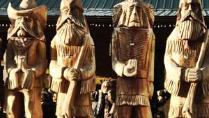 Wooden western statues