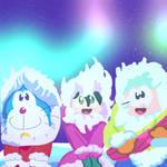 Doraemon,Noby,and Sue Looking at Aurora Borealis