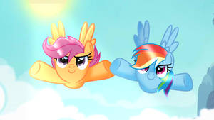 Scootaloo Flying With Rainbow Dash